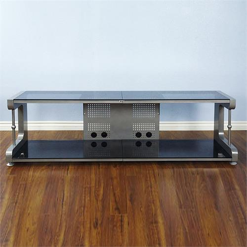 View a large image of the VTI 20800 Series 75 inch TV Stand AV Rack Silver Frame Black Glass 20864 here.
