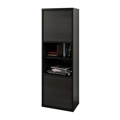 View a larger image of Nexera Sereni-T Bookcase (2-Door, Black and Ebony) 210306 here.