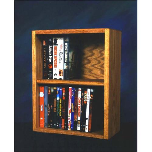 View a large image of the Wood Shed Solid Oak Desktop or Shelf DVD and VHS Rack Various Finishes 210-1W here.