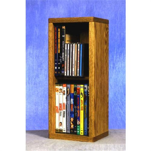 View a large image of the Wood Shed Small Capacity 2 Shelf CD DVD Rack Oak 215 here.