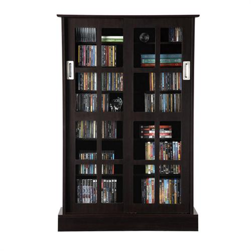 View a larger image of the Atlantic Windowpanes Series Wood Media Cabinet with Sliding Glass Doors (Espresso) 94835721.