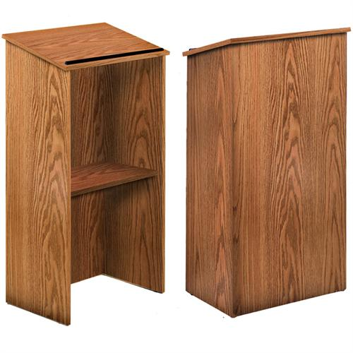 View a large image of the Oklahoma Sound Full Floor Lectern Medium Oak 222-MO here.