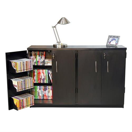 View a large image of the Venture Horizon Double-Wide Media Cabinet Black 2360-21BL here.