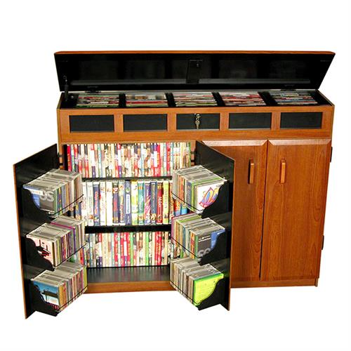 View a large image of the Venture Horizon Media Cabinet with Lid Top Cherry & Black 2362-42BC here.