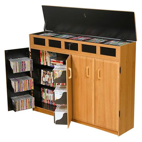 View a large image of the Venture Horizon Media Cabinet with Lid Top Oak & Black 2362-33BO here.