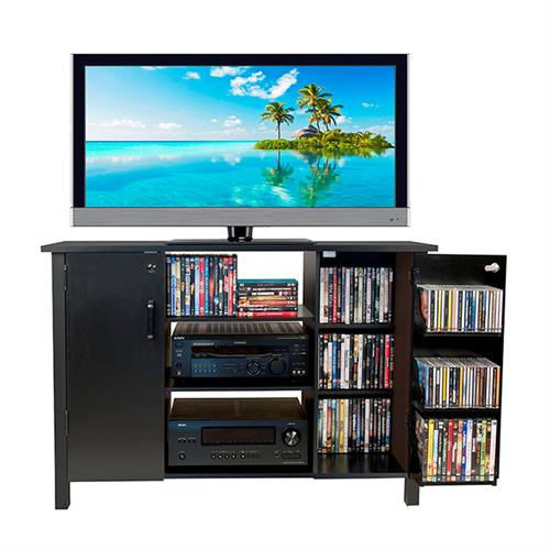 View a large image of the Venture Horizon 42 inch TV Stand and Locking Media Storage Cabinet Black 2365-21BL here.
