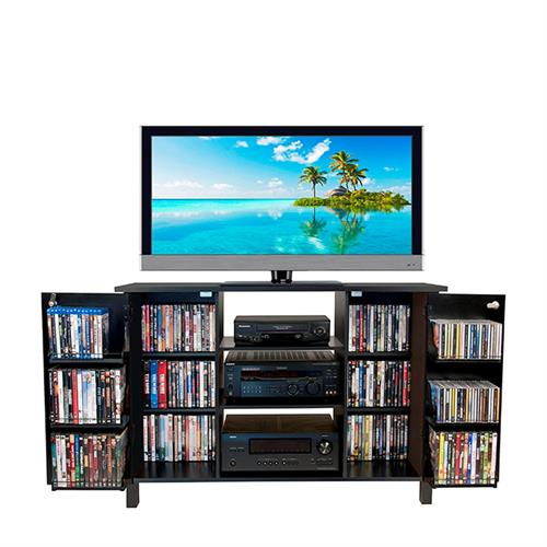 Venture Horizon 42 Tv Stand And Locking Media Storage Cabinet Black