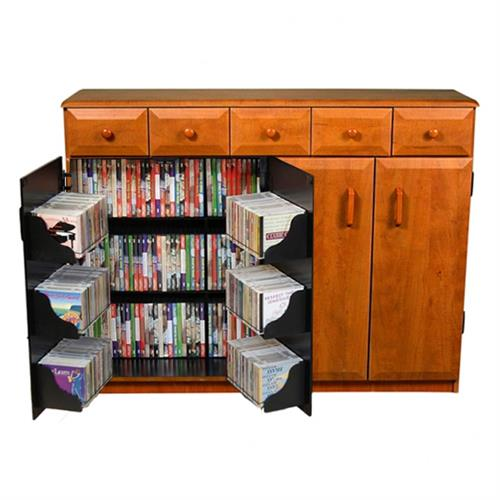 View a large image of the Venture Horizon Media Cabinet with Upper Drawers Cherry & Black 2368-42CH here.