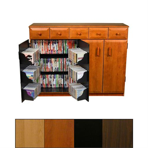 View a larger image of the Venture Horizon Double-Wide Wooden Media Cabinet with Upper Drawers (Various Finishes) 2368.