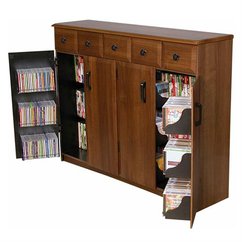 View a large image of the Venture Horizon Media Cabinet with Upper Drawers Walnut 2368-61DW here.
