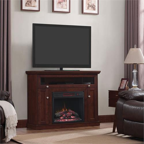 View a larger image of the Classic Flame Windsor Corner TV Stand with Inset Electric Fireplace (Cherry) 23DE9047-PC81 here.