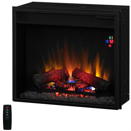 View a large image of the Classic Flame Fixed Front 23 inch Electric Fireplace Insert with Remote Black 23EF023GRA here.