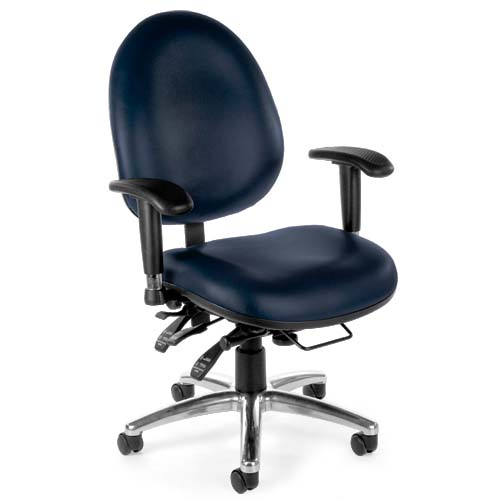 View a large image of the OFM Hi-Back 24 Hour Big and Tall Anti-Microbial Vinyl Computer Chair Navy 247-VAM-605 here.