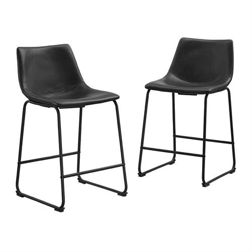 View a large image of the Walker Edison Faux Leather Counter Stools Black set of 2 CHL26BL here.