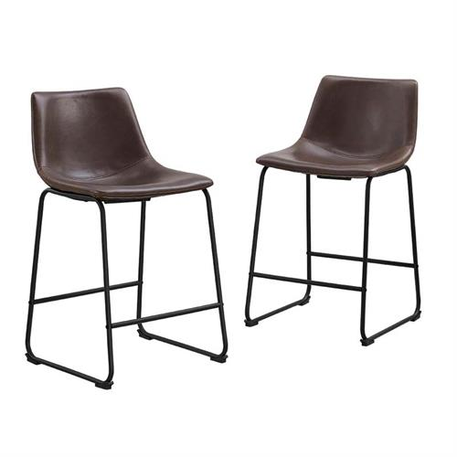 View a large image of the Walker Edison Faux Leather Counter Stools Brown set of 2 CHL26BR here.