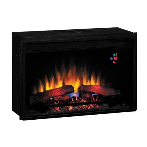 View a larger image of the Classic Flame Fixed Front 26 inch Electric Fireplace Insert with Remote (Black) 26EF023GRA.
