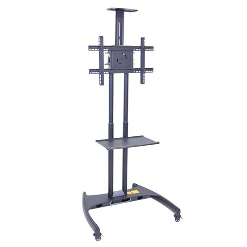 View a large image of the Luxor FP Series Mobile 32 to 60 in. Flat Panel TV Mount with Camera Mount and Accessory Shelf Black FP2750 here.