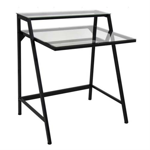 View a large image of the LumiSource 2 Tier Clear Glass Computer Desk Black OFD-TM-2TIER CL here.