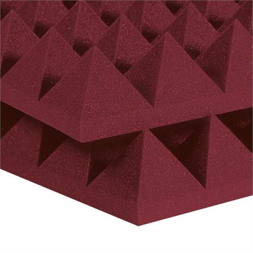 View a large image of the Auralex Acoustics 4 inch Pyramid StudioFoam Sound Absorption Panels 2x4 ft. Burgundy Pack of 6 4PYR24BUR here.