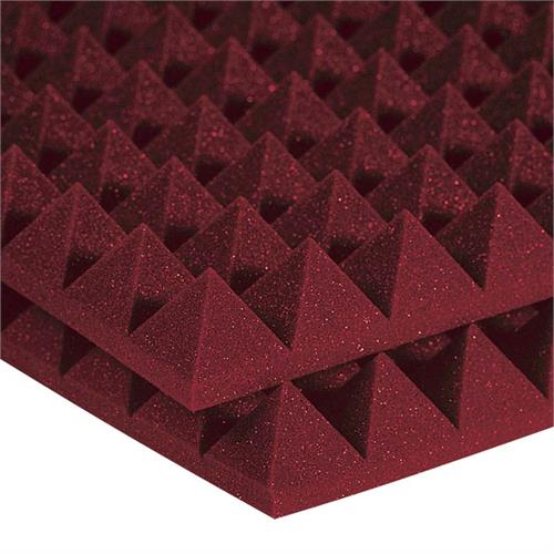 View a large image of the Auralex Acoustics 2 inch Pyramid StudioFoam Sound Absorption Panels 2x2 ft. HALF PACK Burgundy 2PYR22BUR_HP here.