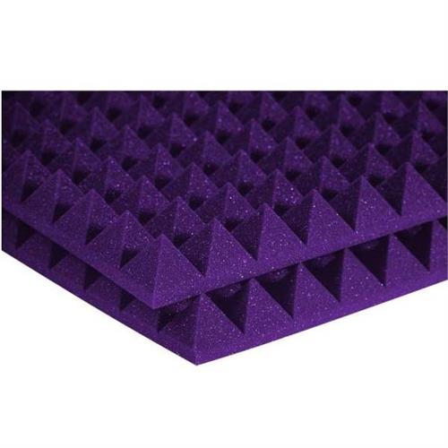 View a large image of the Auralex Acoustics 2 inch Pyramid StudioFoam Sound Absorption Panels Purple 6 pack 2PYR24PUR_HP here.