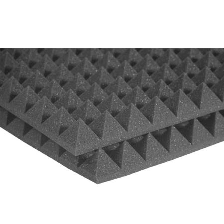 View a large image of the Auralex Acoustics 2 inch Pyramid StudioFoam Sound Absorption Panels Charcoal 6 pack 2PYR24CHA_HP here.