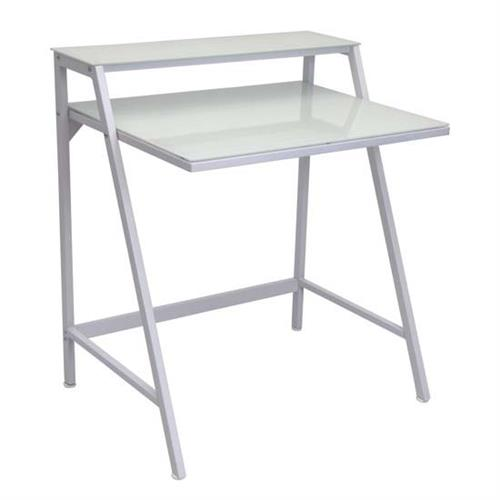 View a large image of the LumiSource 2 Tier Frosted Glass Computer Desk White OFD-TM-2TIER W here.