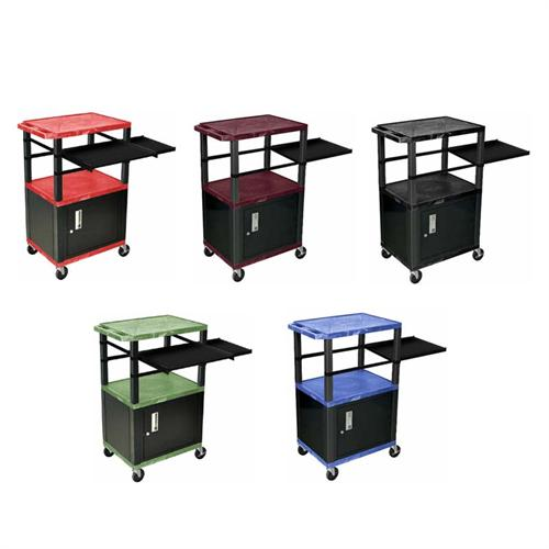 View a large image of the H. Wilson 42 inch Tuffy Presentation Station with Black Legs and Cabinet Various Colors WTPSP42C2E-B here.