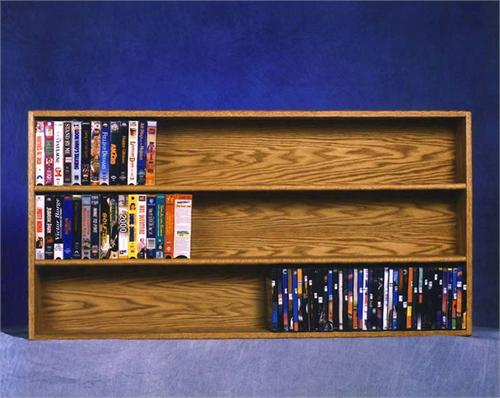 View a large image of the Wood Shed Solid Oak Wall Mounted Shelf for DVD and VHS or Books Various Finishes TWS-308-4W here.