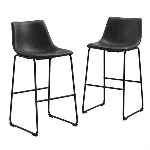 View a large image of the Walker Edison Faux Leather Bar Stools Black set of 2 CHL30BL here.
