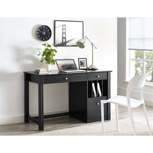 View a large image of the Walker Edison Deluxe Home Office Storage Desk Black DW48D30BL here.
