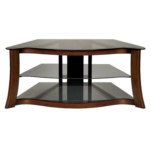 View a large image of the Bello Hand-Painted Serpentine Wood Trim TV Stand for Screens up to 52 inches Cherry PVS3103 here.