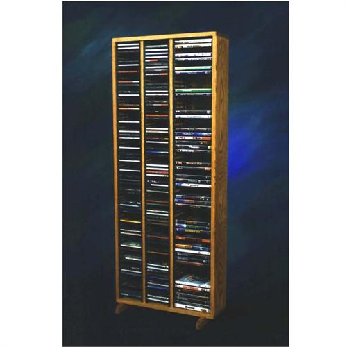 View a large image of the Wood Shed Solid Oak Tall CD DVD VHS Storage Rack Various Finishes 312-4 here.