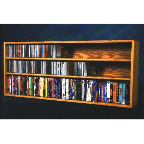 View a large image of the Wood Shed Solid Oak CD DVD VHS Wide Combination Rack Various Finishes 312-4W here.
