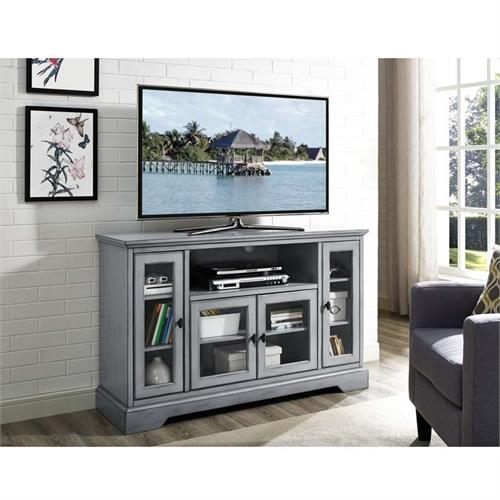 View a large image of the Walker Edison Highboy 55 inch TV Cabinet Antique Grey W52C32AGY here.