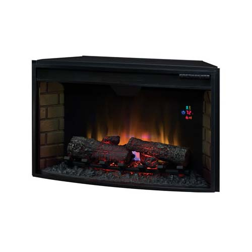 View a larger image of the Classic Flame Curved Front 32 inch Electric Fireplace Insert with Remote (Black) 32EF023GRA.