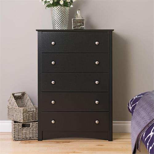 View a large image of the Prepac Sonoma Collection 5-Drawer Chest Black BDC-3345-K here.