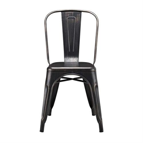 View a large image of the Walker Edison Single Metal Cafe Chair Antique Black CH33MCBL here.