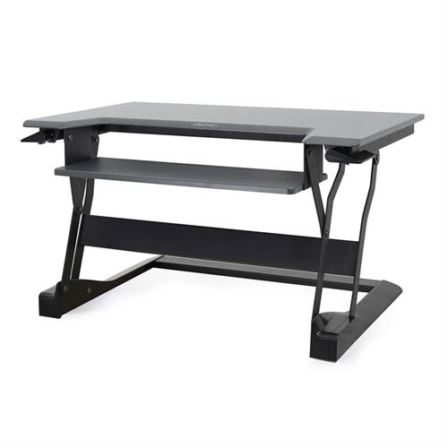 View a large image of the Ergotron Sit-Stand Desk Converter (WorkFit-T, Med, BK Grey) 33-397-085.