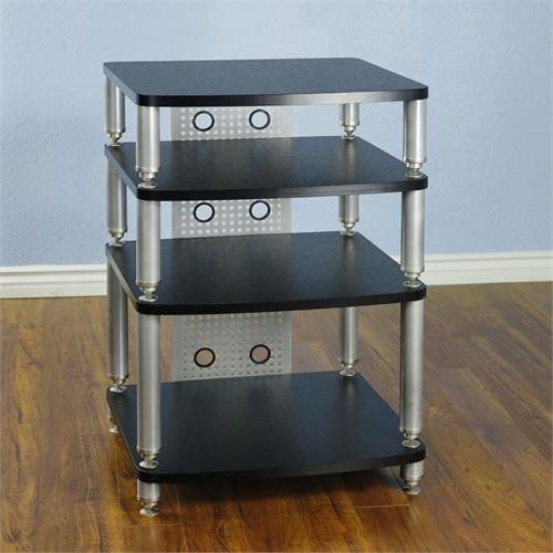 View a large image of the VTI 34000 Series Professional Audio Rack Silver Poles Black Shelves 34664 here.