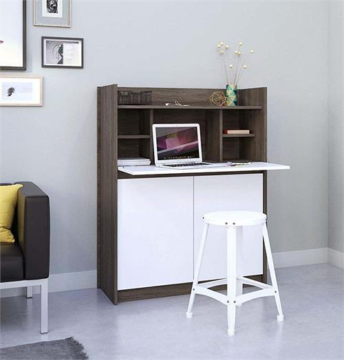 View a large image of the Nexera Chrono Secretary Desk with Hutch (White and Bark Grey) 351648 below.