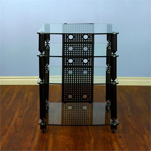 View a large image of the VTI 36000 Series Professional Audio Rack Black Poles Clear Glass 36441 here.