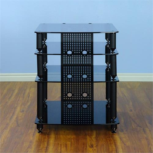 View a large image of the VTI 36000 Series Professional Audio Rack Black Poles Black Glass 36444 here.