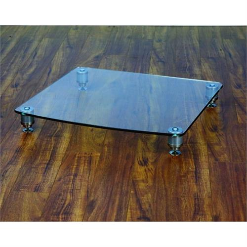 View a large image of the VTI 36000 Series Professional Amp Stand Silver Poles Clear Glass 36911 here.