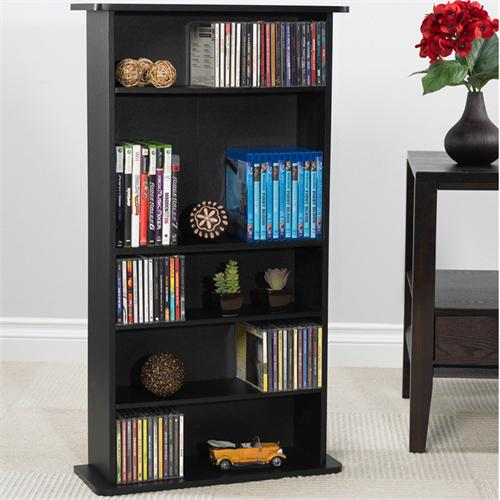 View a large image of the Atlantic 6-shelf Drawbridge Media Cabinet 240 CDs - 108 DVDs Black 37935726 here.