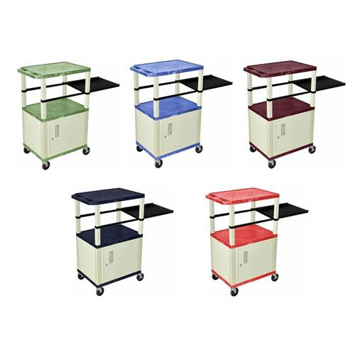 "View a larger image of the H. Wilson 42"" Tuffy Presentation Station with White Legs and Cabinet (Various Colors) WTPSP42C3E."