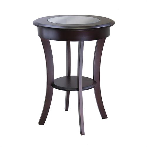 View a large image of the Winsome Cassie Accent Table w Glass Top Cappuccino 40019 here.