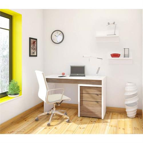 View a larger image of Nexera Liber-T Home Office Set (3 Piece, White and Walnut) 400611 here.