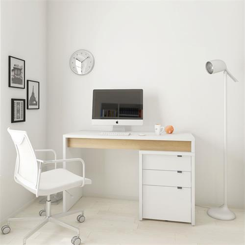 View a larger image of Nexera Chrono Home Office Set (2 Pc, White and Natural Maple) 400922 here.