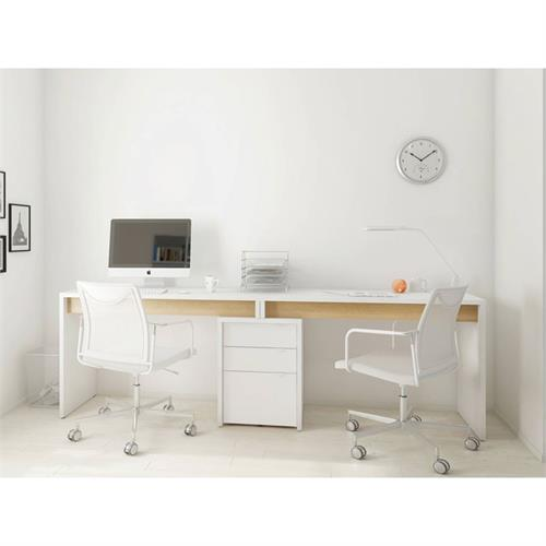 View a larger image of Nexera Chrono Home Office Set (3 Pc, White and Natural Maple) 400924 here.